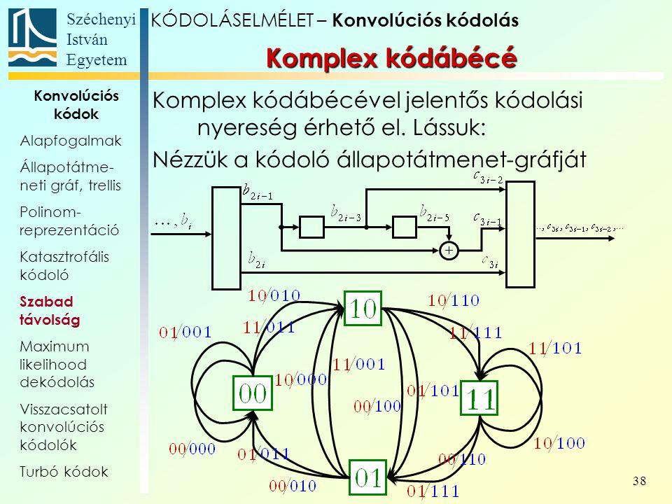 Széchenyi István Egyetem 38 Komplex kódábécé Komplex kódábécével jelentős kódolási nyereség érhető el.