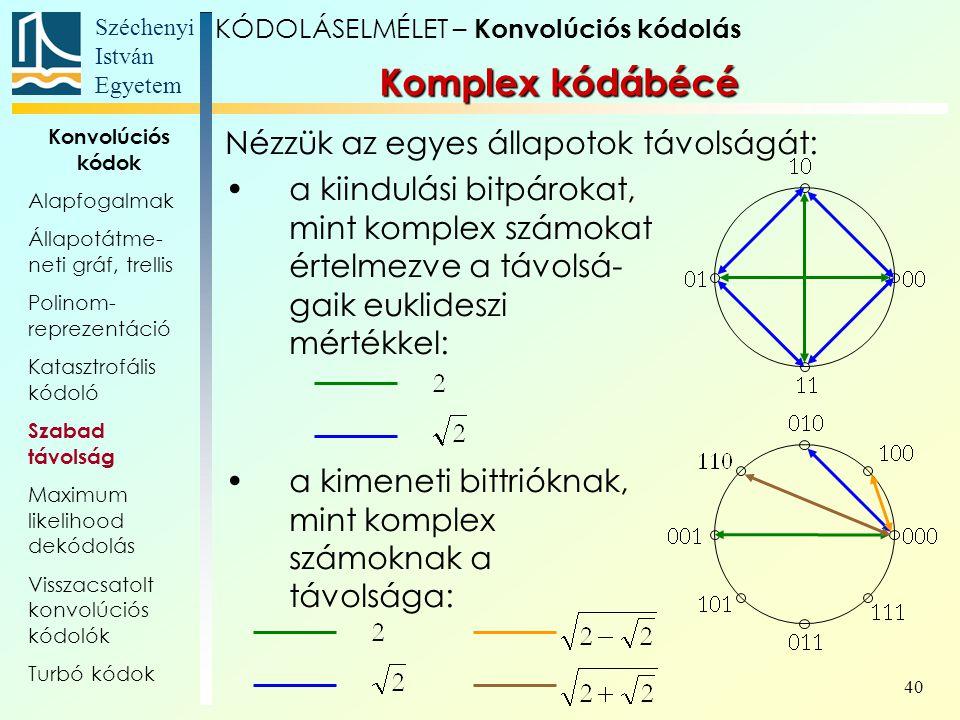 Széchenyi István Egyetem 40 Nézzük az egyes állapotok távolságát: a kiindulási bitpárokat, mint komplex számokat értelmezve a távolsá- gaik euklideszi mértékkel: a kimeneti bittrióknak, mint komplex számoknak a távolsága: Komplex kódábécé KÓDOLÁSELMÉLET – Konvolúciós kódolás Konvolúciós kódok Alapfogalmak Állapotátme- neti gráf, trellis Polinom- reprezentáció Katasztrofális kódoló Szabad távolság Maximum likelihood dekódolás Visszacsatolt konvolúciós kódolók Turbó kódok