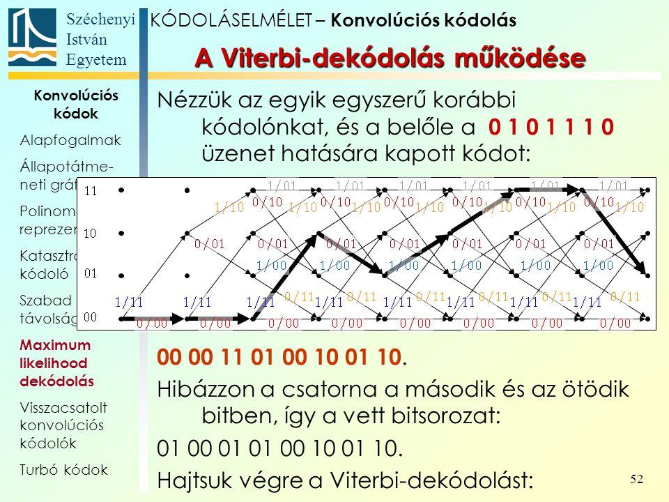 Széchenyi István Egyetem 52 Konvolúciós kódok Alapfogalmak Állapotátme- neti gráf, trellis Polinom- reprezentáció Katasztrofális kódoló Szabad távolság Maximum likelihood dekódolás Visszacsatolt konvolúciós kódolók Turbó kódok A Viterbi-dekódolás működése Nézzük az egyik egyszerű korábbi kódolónkat, és a belőle a 0 1 0 1 1 1 0 üzenet hatására kapott kódot: 00 00 11 01 00 10 01 10.