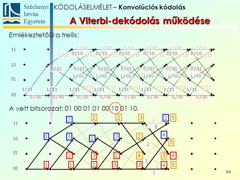 Széchenyi István Egyetem 64 A Viterbi-dekódolás működése Emlékeztetőül a trellis: A vett bitsorozat: 01 00 01 01 00 10 01 10.