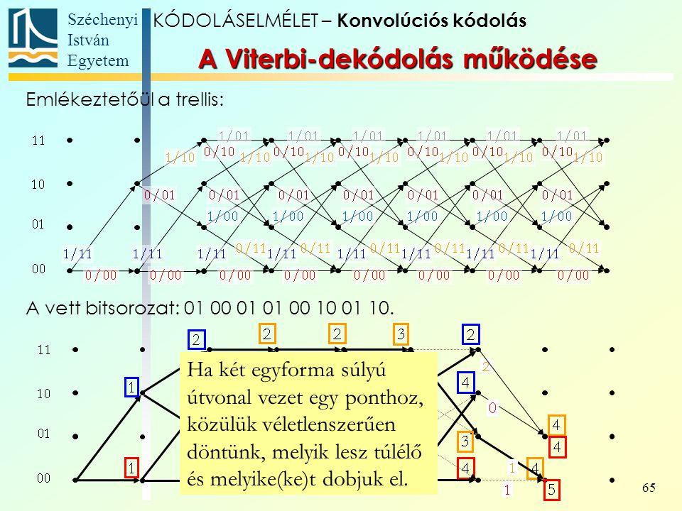 Széchenyi István Egyetem 65 Ha két egyforma súlyú útvonal vezet egy ponthoz, közülük véletlenszerűen döntünk, melyik lesz túlélő és melyike(ke)t dobjuk el.