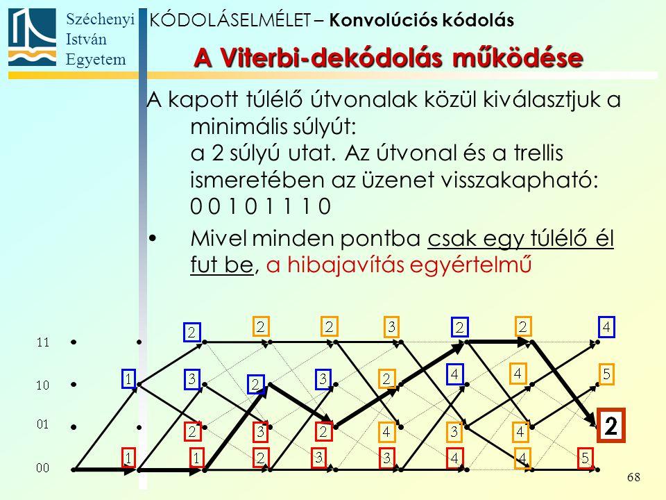 Széchenyi István Egyetem 68 A kapott túlélő útvonalak közül kiválasztjuk a minimális súlyút: a 2 súlyú utat.