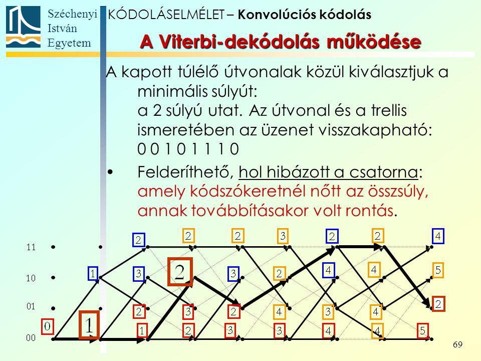 Széchenyi István Egyetem 69 A kapott túlélő útvonalak közül kiválasztjuk a minimális súlyút: a 2 súlyú utat.