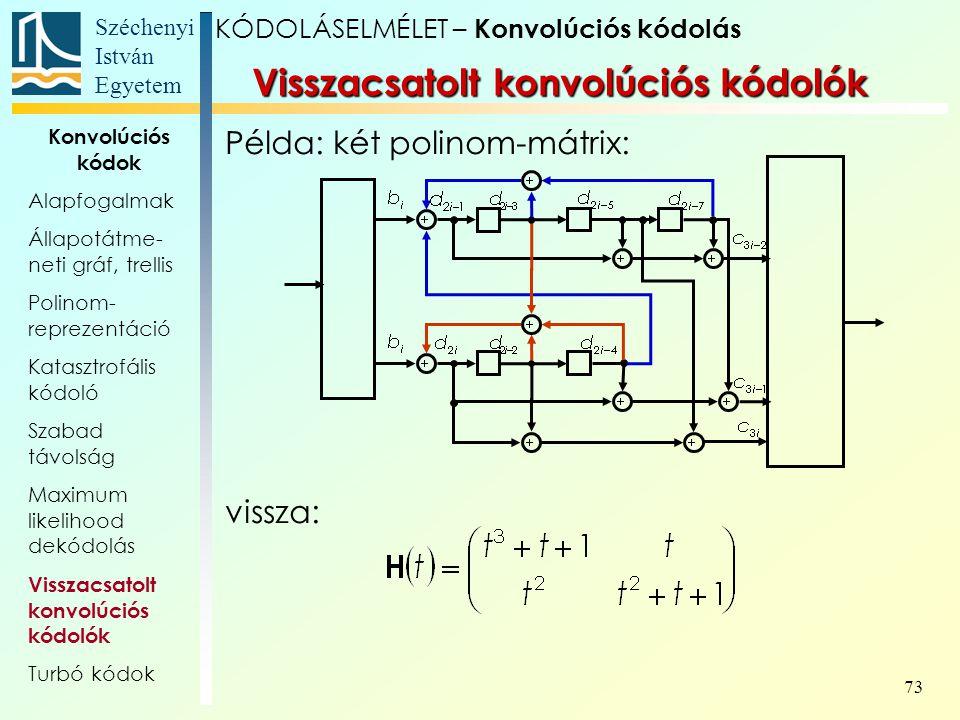 Széchenyi István Egyetem 73 Példa: két polinom-mátrix: vissza: Visszacsatolt konvolúciós kódolók KÓDOLÁSELMÉLET – Konvolúciós kódolás Konvolúciós kódok Alapfogalmak Állapotátme- neti gráf, trellis Polinom- reprezentáció Katasztrofális kódoló Szabad távolság Maximum likelihood dekódolás Visszacsatolt konvolúciós kódolók Turbó kódok