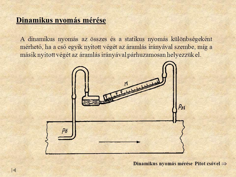 Dinamikus nyomás mérése A dinamikus nyomás az összes és a statikus nyomás különbségeként mérhető, ha a cső egyik nyitott végét az áramlás irányával szembe, míg a másik nyitott végét az áramlás irányával párhuzamosan helyezzük el.