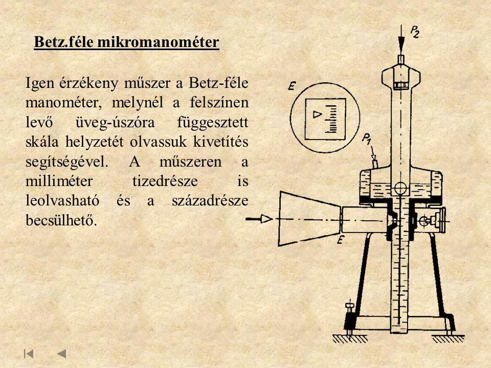 Betz.féle mikromanométer Igen érzékeny műszer a Betz-féle manométer, melynél a felszínen levő üveg-úszóra függesztett skála helyzetét olvassuk kivetítés segítségével.