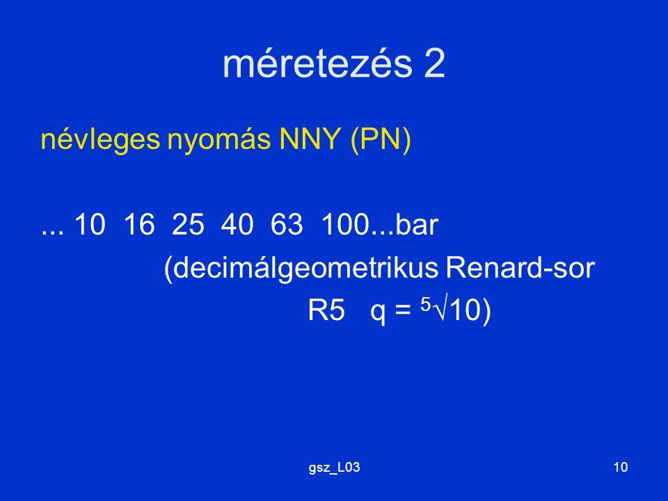gsz_L0310 méretezés 2 névleges nyomás NNY (PN)... 10 16 25 40 63 100...bar (decimálgeometrikus Renard-sor R5 q = 5 √10)