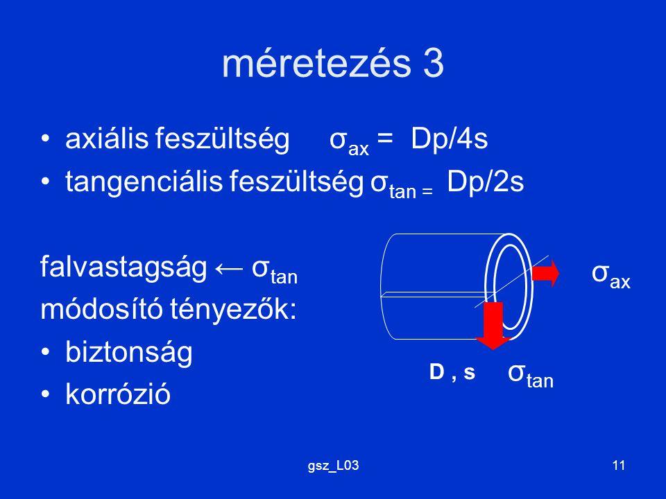 gsz_L0311 méretezés 3 axiális feszültség σ ax = Dp/4s tangenciális feszültség σ tan = Dp/2s falvastagság ← σ tan módosító tényezők: biztonság korrózió