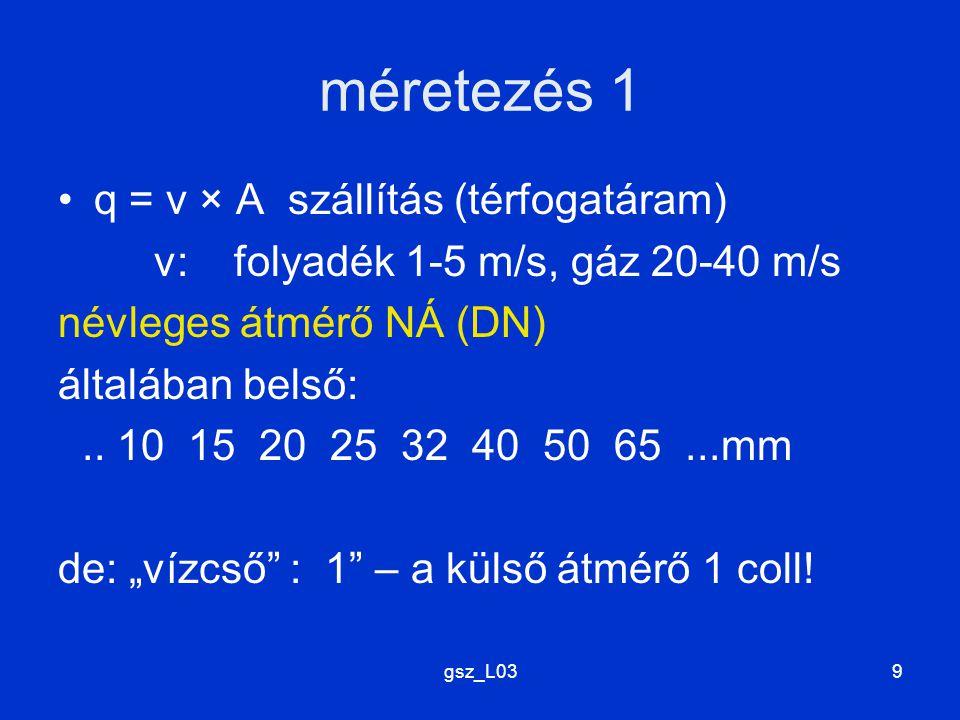 gsz_L039 méretezés 1 q = v × A szállítás (térfogatáram) v: folyadék 1-5 m/s, gáz 20-40 m/s névleges átmérő NÁ (DN) általában belső:.. 10 15 20 25 32 4