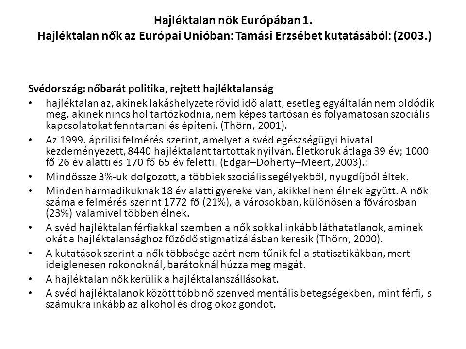 Hajléktalan nők Európában 1. Hajléktalan nők az Európai Unióban: Tamási Erzsébet kutatásából: (2003.) Svédország: nőbarát politika, rejtett hajléktala