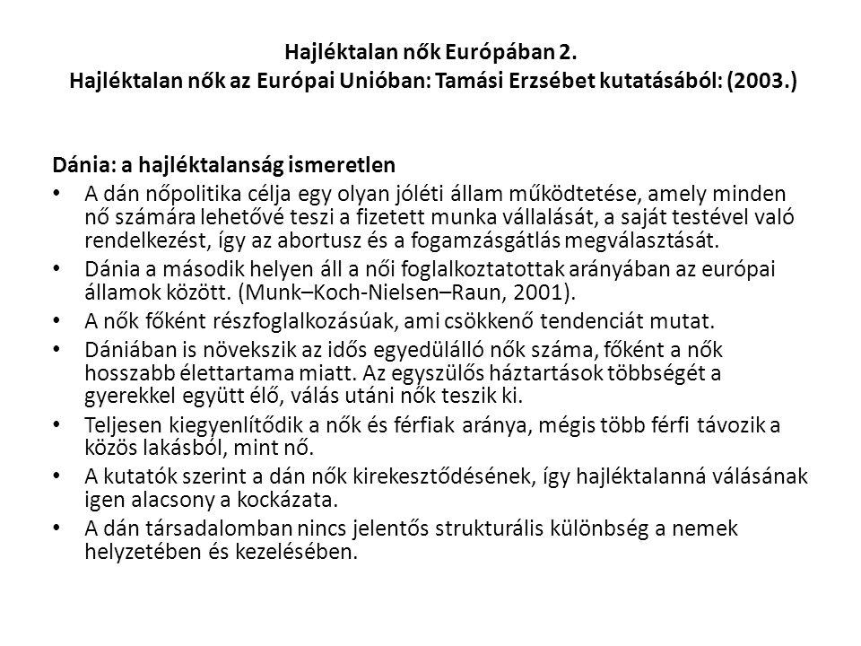 Hajléktalan nők Európában 2. Hajléktalan nők az Európai Unióban: Tamási Erzsébet kutatásából: (2003.) Dánia: a hajléktalanság ismeretlen A dán nőpolit