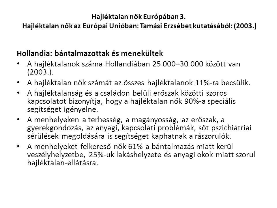 Hajléktalan nők Európában 3. Hajléktalan nők az Európai Unióban: Tamási Erzsébet kutatásából: (2003.) Hollandia: bántalmazottak és menekültek A hajlék