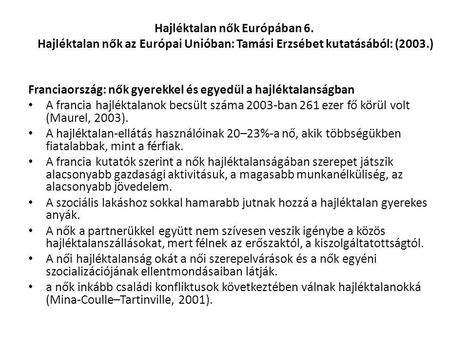 Hajléktalan nők Európában 6. Hajléktalan nők az Európai Unióban: Tamási Erzsébet kutatásából: (2003.) Franciaország: nők gyerekkel és egyedül a hajlék