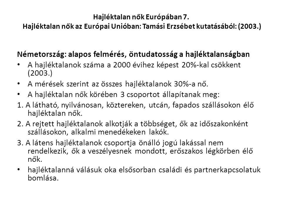 Hajléktalan nők Európában 7. Hajléktalan nők az Európai Unióban: Tamási Erzsébet kutatásából: (2003.) Németország: alapos felmérés, öntudatosság a haj