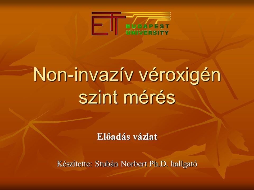 Non-invazív véroxigén szint mérés Előadás vázlat Készítette: Stubán Norbert Ph.D. hallgató