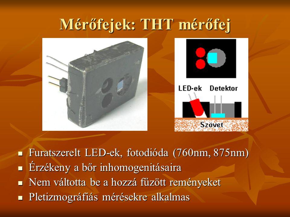 Mérőfejek: THT mérőfej Furatszerelt LED-ek, fotodióda (760nm, 875nm) Furatszerelt LED-ek, fotodióda (760nm, 875nm) Érzékeny a bőr inhomogenitásaira Ér