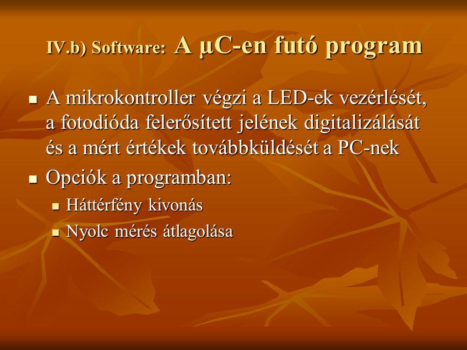 IV.b) Software: A µC-en futó program A mikrokontroller végzi a LED-ek vezérlését, a fotodióda felerősített jelének digitalizálását és a mért értékek t