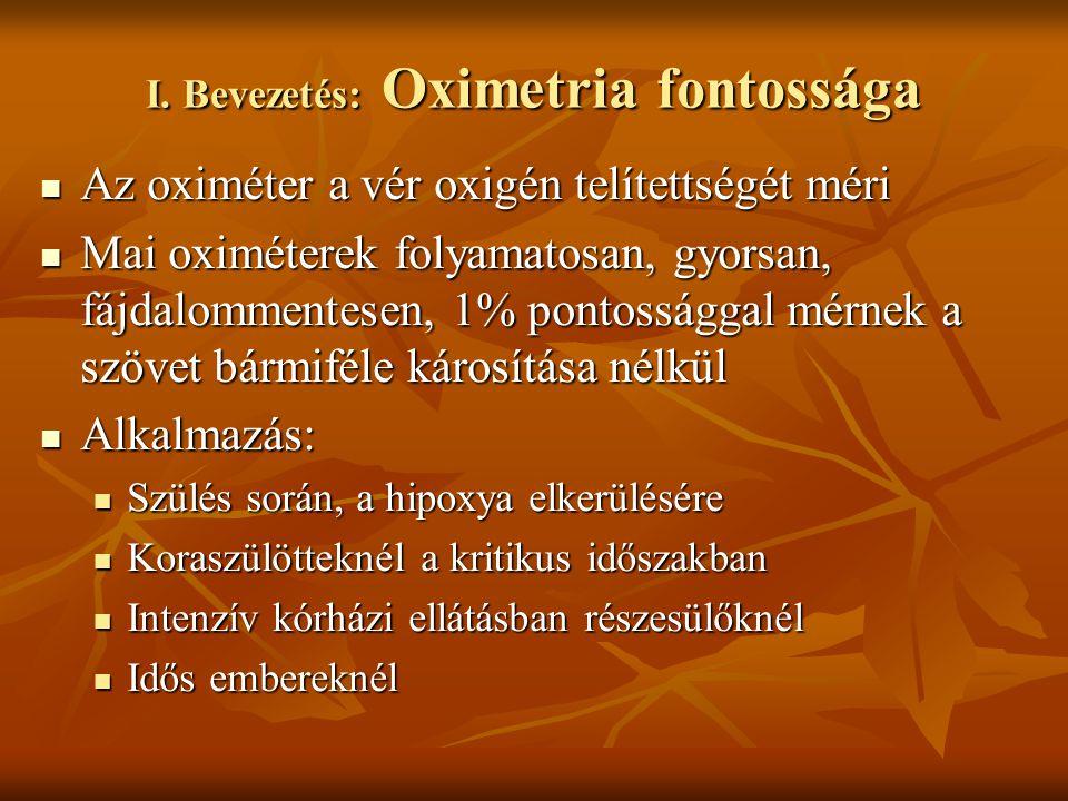 I. Bevezetés: Oximetria fontossága Az oximéter a vér oxigén telítettségét méri Az oximéter a vér oxigén telítettségét méri Mai oximéterek folyamatosan