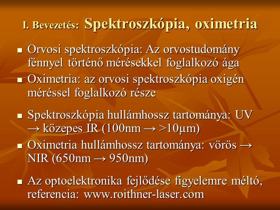I. Bevezetés: Spektroszkópia, oximetria Orvosi spektroszkópia: Az orvostudomány fénnyel történő mérésekkel foglalkozó ága Orvosi spektroszkópia: Az or
