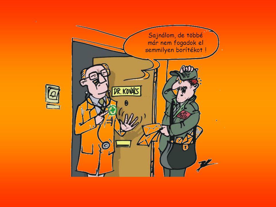 A beteg köhögés elleni orvosságot kér a doktortól, aki közben telefonálgat, s nem nagyon figyel a páciensére.