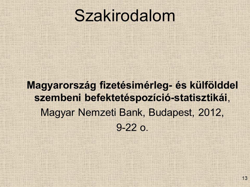 Szakirodalom Magyarország fizetésimérleg- és külfölddel szembeni befektetéspozíció-statisztikái, Magyar Nemzeti Bank, Budapest, 2012, 9-22 o.