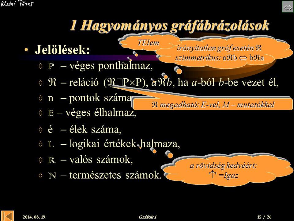  2014. 08. 19.Gráfok 1 1 Hagyományos gráfábrázolások Jelölések:  P – véges ponthalmaz,   – reláció (  P  P), a  b, ha a-ból b-be vezet él,