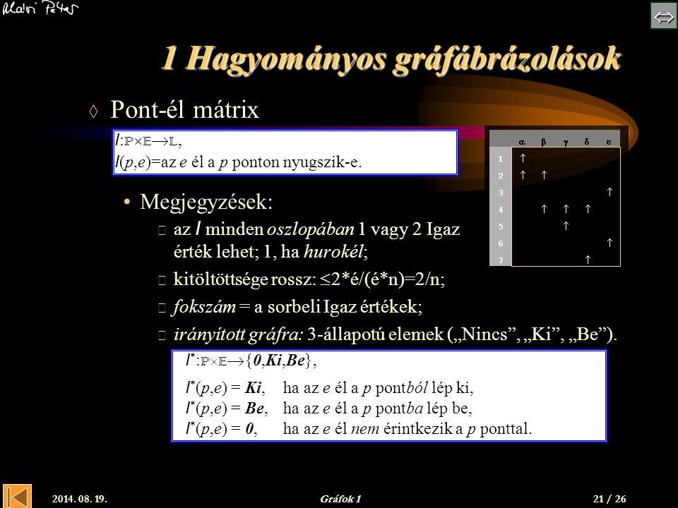  2014. 08. 19.Gráfok 1 1 Hagyományos gráfábrázolások  Pont-él mátrix Megjegyzések:  az I minden oszlopában 1 vagy 2 Igaz érték lehet; 1, ha huro