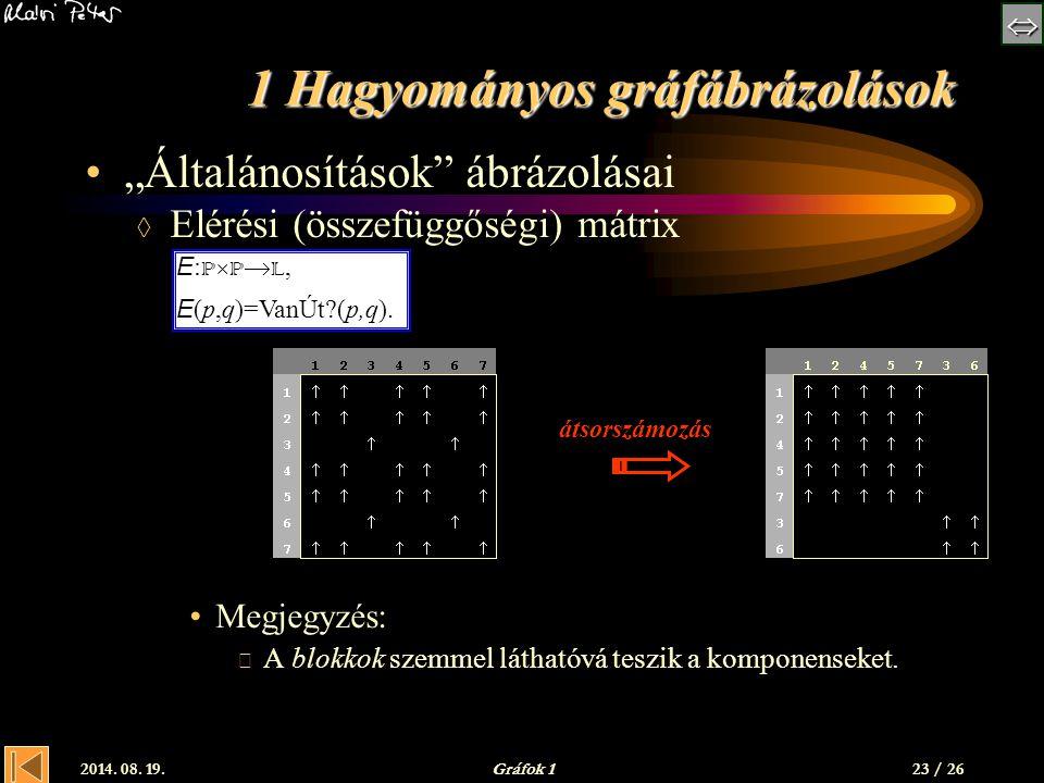 """ 2014. 08. 19.Gráfok 1 1 Hagyományos gráfábrázolások """"Általánosítások"""" ábrázolásai  Elérési (összefüggőségi) mátrix Megjegyzés:  A blokkok szemm"""