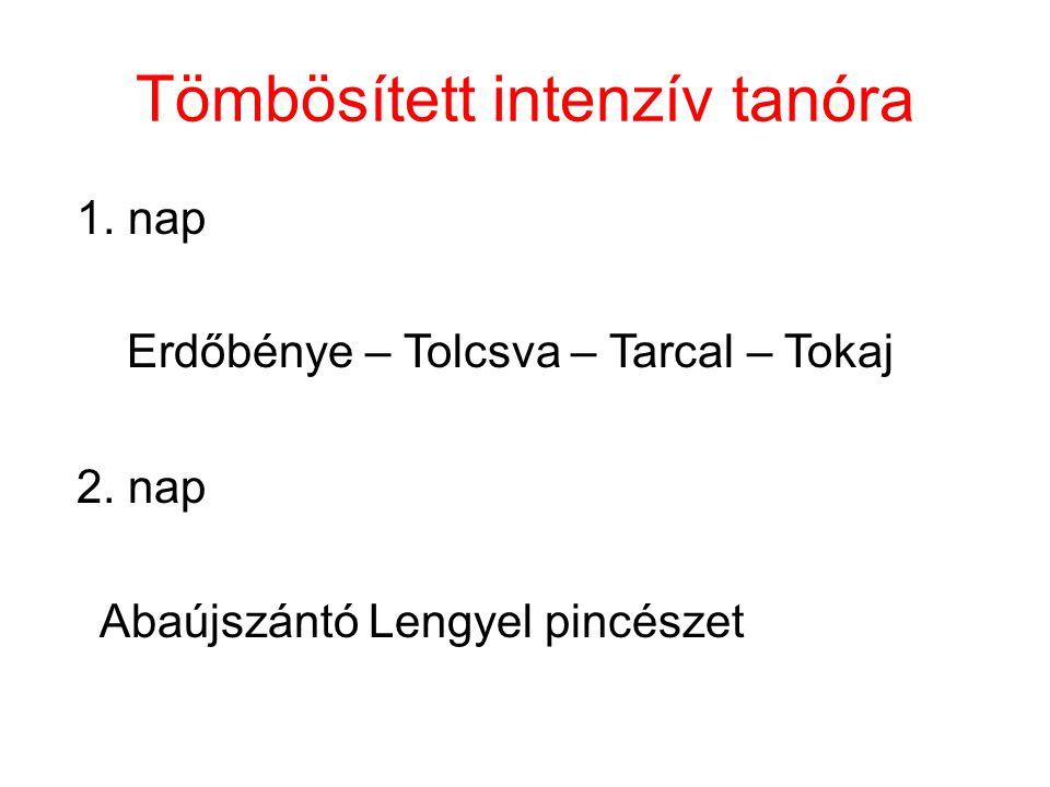 Tömbösített intenzív tanóra 1. nap Erdőbénye – Tolcsva – Tarcal – Tokaj 2.