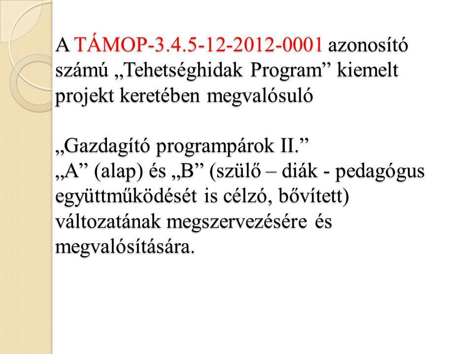 """A TÁMOP-3.4.5-12-2012-0001 azonosító számú """"Tehetséghidak Program kiemelt projekt keretében megvalósuló """"Gazdagító programpárok II. """"A (alap) és """"B (szülő – diák - pedagógus együttműködését is célzó, bővített) változatának megszervezésére és megvalósítására."""
