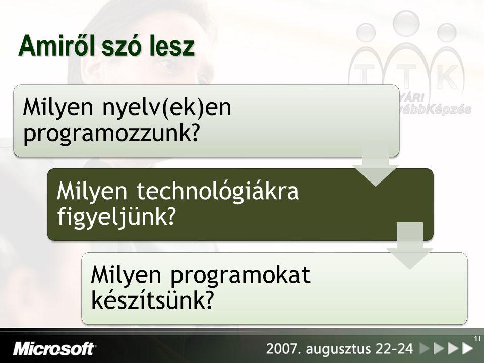 11 Amiről szó lesz Milyen nyelv(ek)en programozzunk? Milyen technológiákra figyeljünk? Milyen programokat készítsünk?