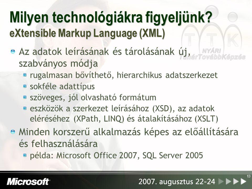 Milyen technológiákra figyeljünk? eXtensible Markup Language (XML) Az adatok leírásának és tárolásának új, szabványos módja rugalmasan bővíthető, hier