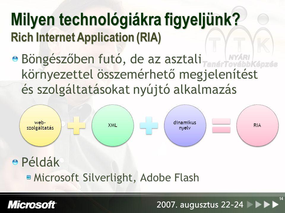 Milyen technológiákra figyeljünk? Rich Internet Application (RIA) Böngészőben futó, de az asztali környezettel összemérhető megjelenítést és szolgálta