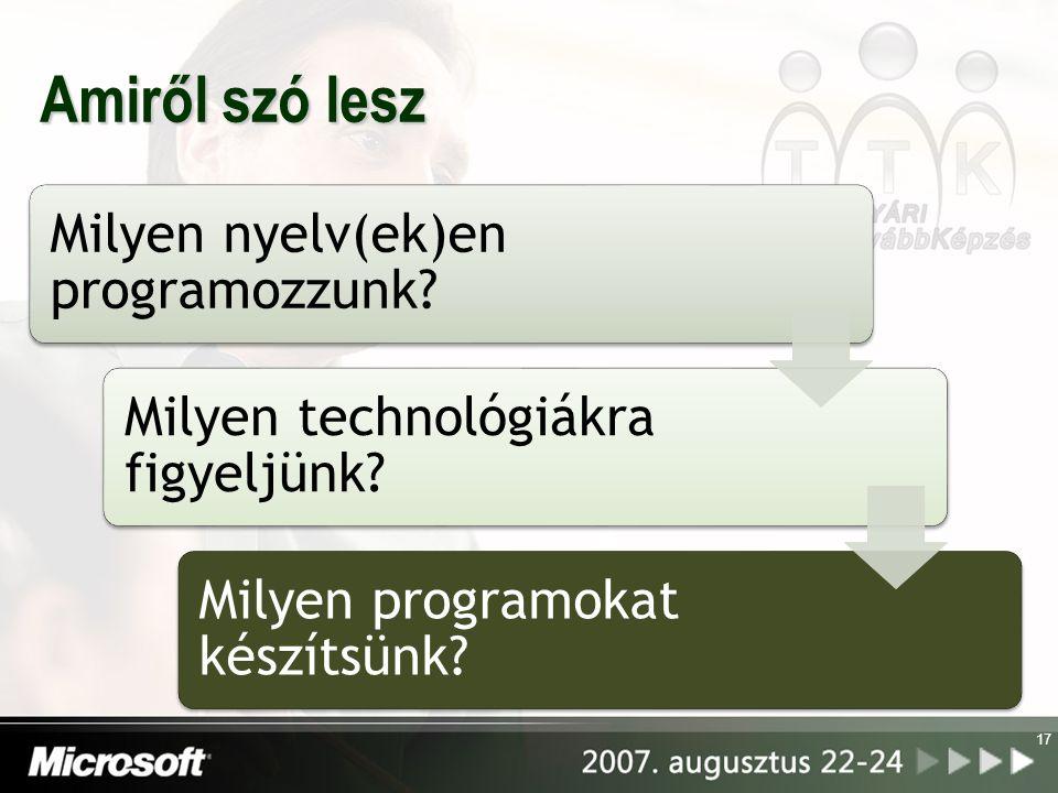 17 Amiről szó lesz Milyen nyelv(ek)en programozzunk? Milyen technológiákra figyeljünk? Milyen programokat készítsünk?