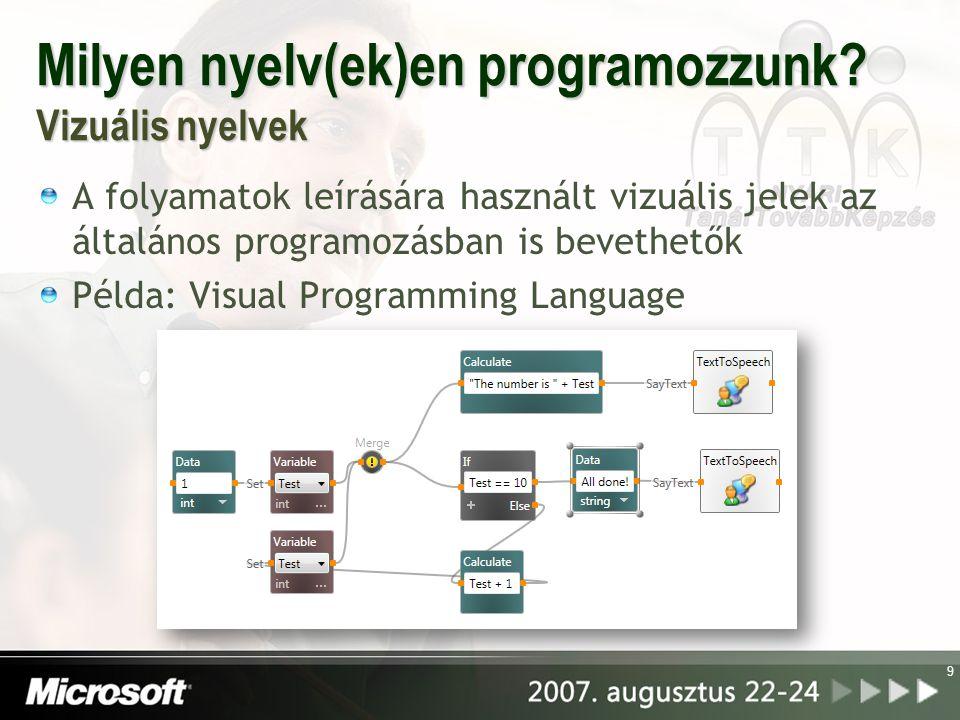 Milyen nyelv(ek)en programozzunk? Vizuális nyelvek A folyamatok leírására használt vizuális jelek az általános programozásban is bevethetők Példa: Vis
