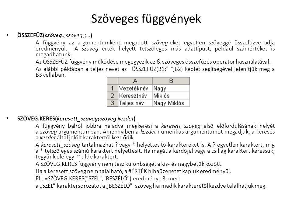 Szöveges függvények ÖSSZEFŰZ(szöveg 1 ;szöveg 2 ;…) A függvény az argumentumként megadott szöveg-eket egyetlen szöveggé összefűzve adja eredményül. A