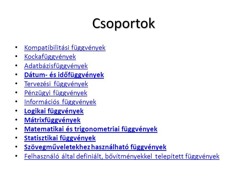 Csoportok Kompatibilitási függvények Kockafüggvények Adatbázisfüggvények Dátum- és időfüggvények Tervezési függvények Pénzügyi függvények Információs