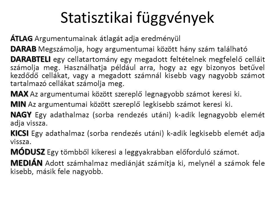 Statisztikai függvények ÁTLAG ÁTLAG Argumentumainak átlagát adja eredményül DARAB DARAB Megszámolja, hogy argumentumai között hány szám található DARA