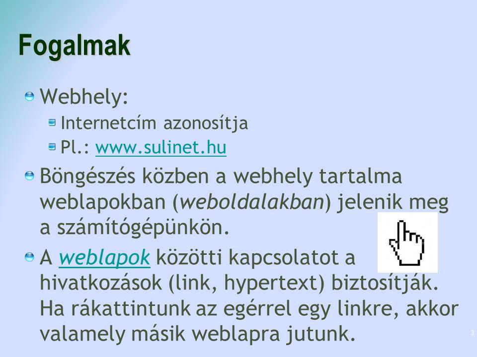 Fogalmak Webhely: Internetcím azonosítja Pl.: www.sulinet.huwww.sulinet.hu Böngészés közben a webhely tartalma weblapokban (weboldalakban) jelenik meg
