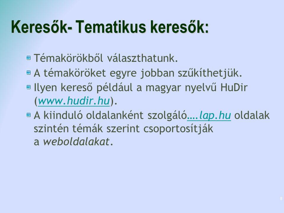 Keresők- Tematikus keresők: Témakörökből választhatunk. A témaköröket egyre jobban szűkíthetjük. Ilyen kereső például a magyar nyelvű HuDir (www.hudir