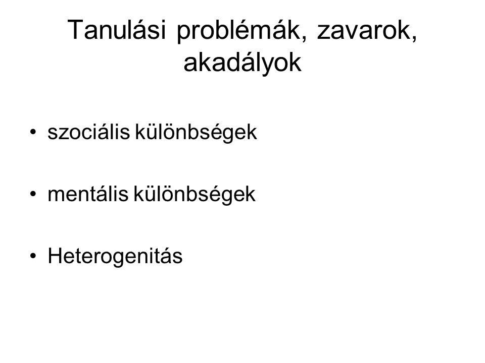 Tanulási problémák, zavarok, akadályok szociális különbségek mentális különbségek Heterogenitás