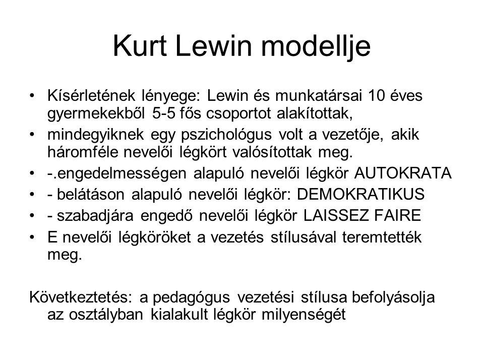 Kurt Lewin modellje Kísérletének lényege: Lewin és munkatársai 10 éves gyermekekből 5-5 fős csoportot alakítottak, mindegyiknek egy pszichológus volt