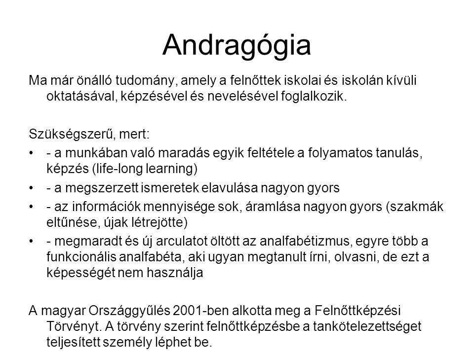 Andragógia Ma már önálló tudomány, amely a felnőttek iskolai és iskolán kívüli oktatásával, képzésével és nevelésével foglalkozik. Szükségszerű, mert: