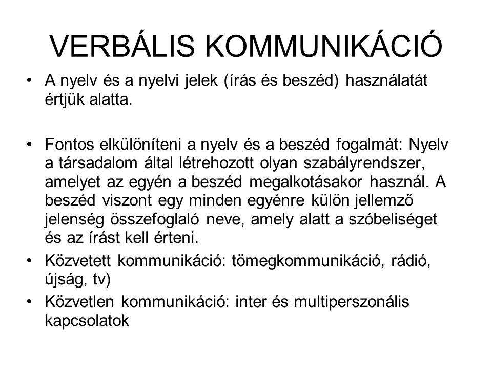 VERBÁLIS KOMMUNIKÁCIÓ A nyelv és a nyelvi jelek (írás és beszéd) használatát értjük alatta. Fontos elkülöníteni a nyelv és a beszéd fogalmát: Nyelv a
