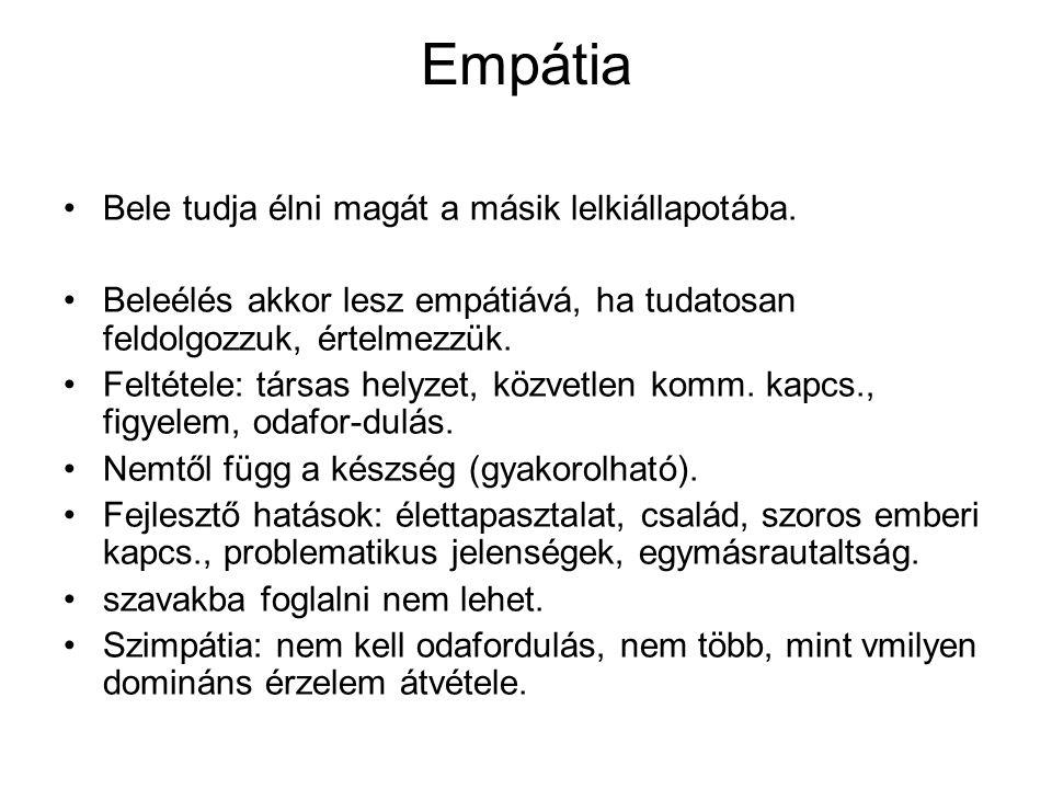 Empátia Bele tudja élni magát a másik lelkiállapotába. Beleélés akkor lesz empátiává, ha tudatosan feldolgozzuk, értelmezzük. Feltétele: társas helyze