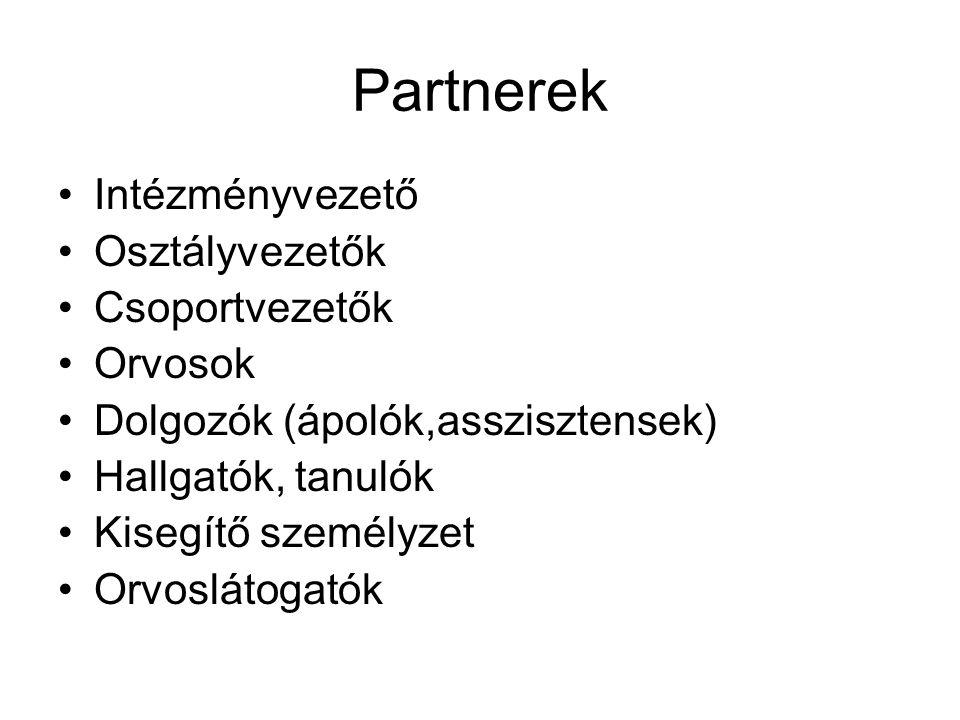 Partnerek Intézményvezető Osztályvezetők Csoportvezetők Orvosok Dolgozók (ápolók,asszisztensek) Hallgatók, tanulók Kisegítő személyzet Orvoslátogatók