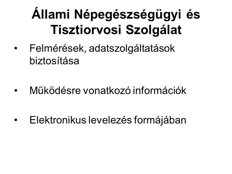 Állami Népegészségügyi és Tisztiorvosi Szolgálat Felmérések, adatszolgáltatások biztosítása Működésre vonatkozó információk Elektronikus levelezés for