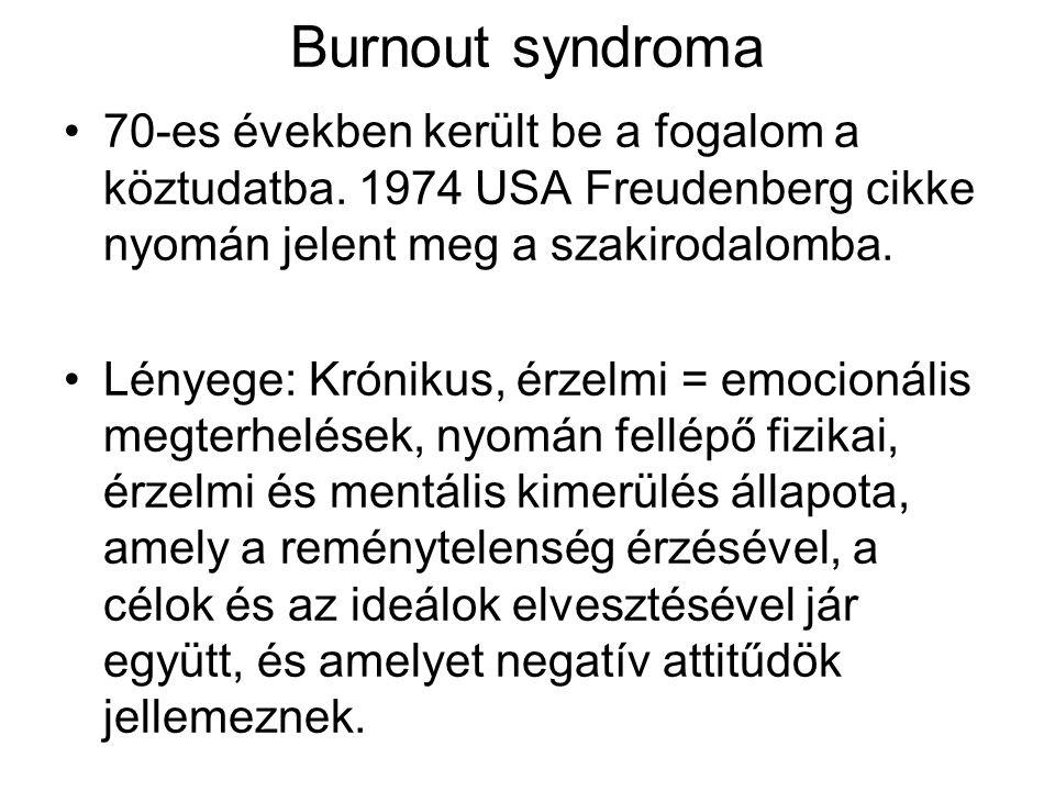 Burnout syndroma 70-es években került be a fogalom a köztudatba. 1974 USA Freudenberg cikke nyomán jelent meg a szakirodalomba. Lényege: Krónikus, érz