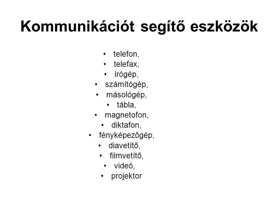 Kommunikációt segítő eszközök telefon, telefax, írógép, számítógép, másológép, tábla, magnetofon, diktafon, fényképezőgép, diavetítő, filmvetítő, vide