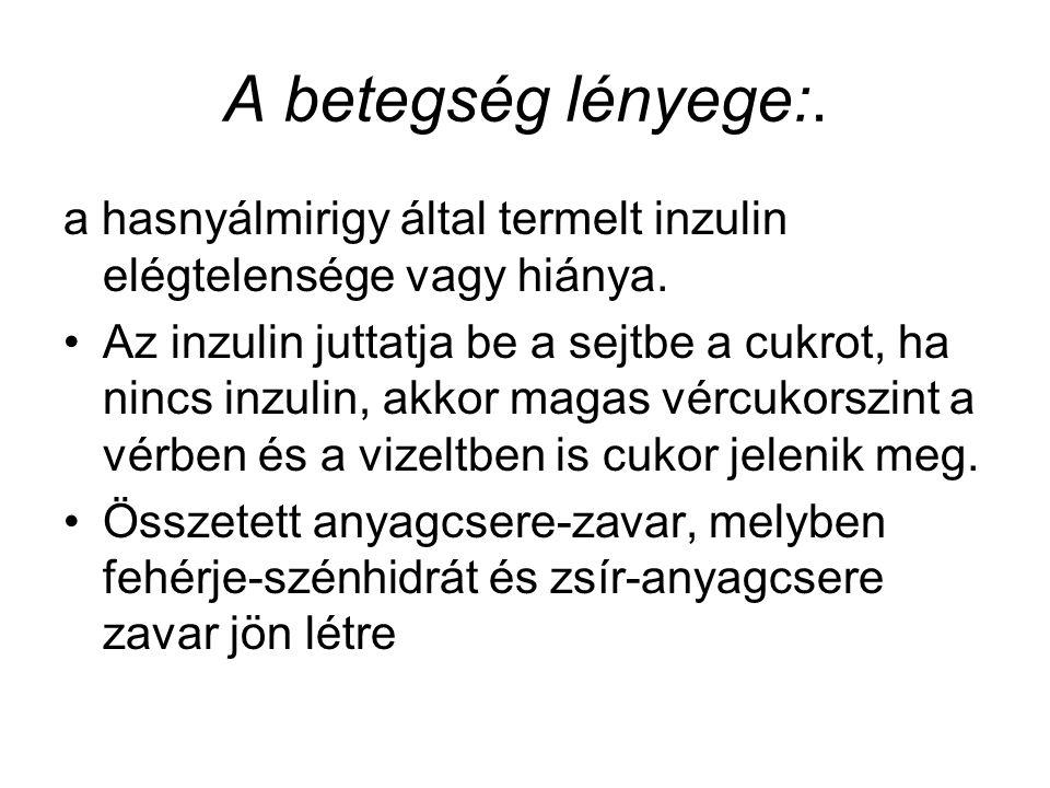 A betegség lényege:. a hasnyálmirigy által termelt inzulin elégtelensége vagy hiánya. Az inzulin juttatja be a sejtbe a cukrot, ha nincs inzulin, akko